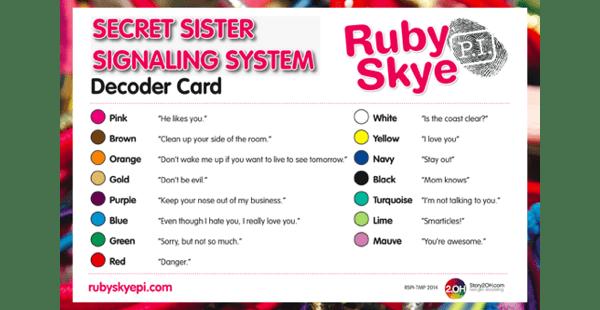 Secret Sister Signaling System Decoder Card